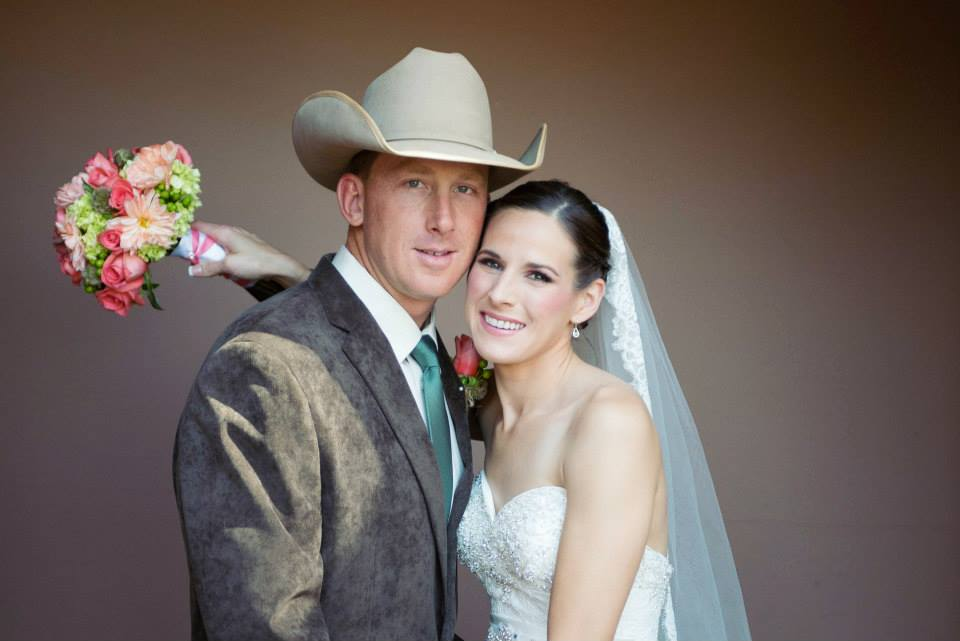 Traditional Bride with Western Cowboy Groom
