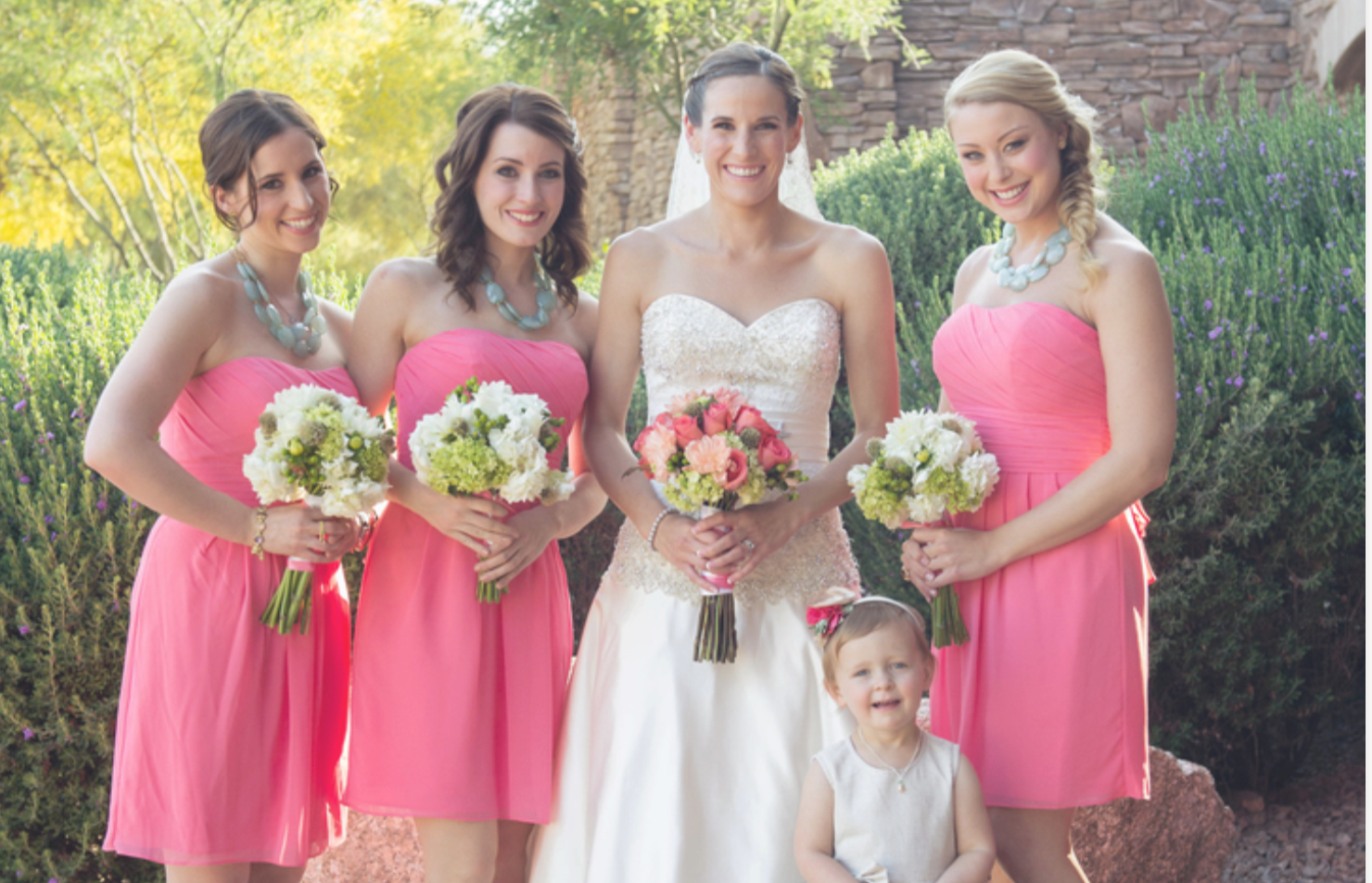 Coral and Sage Bridesmaids With Western Flower Girl - Anabelle ...