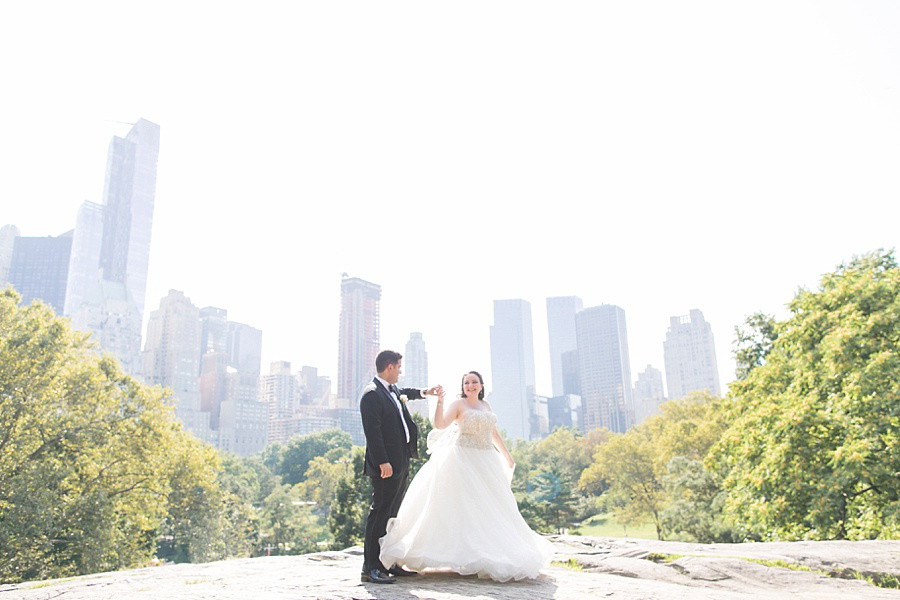 nyc bride and groom in central park