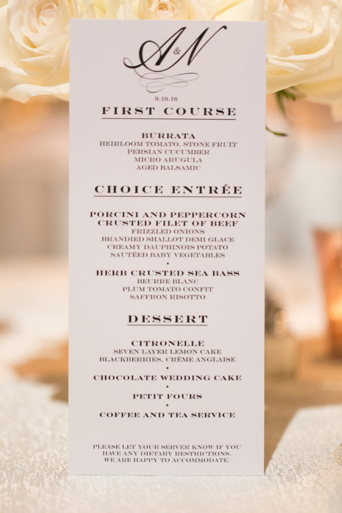 gotham hall wedding reception menu